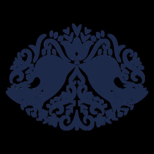Birds folk art floral silhouette