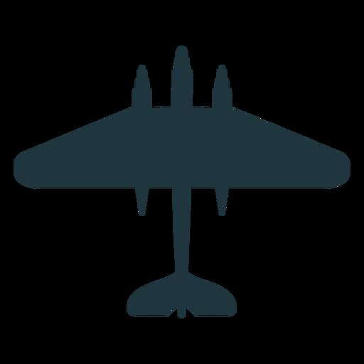 Bombardero avión vista superior silueta militar