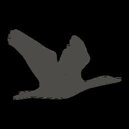 Silueta voladora de cormorán