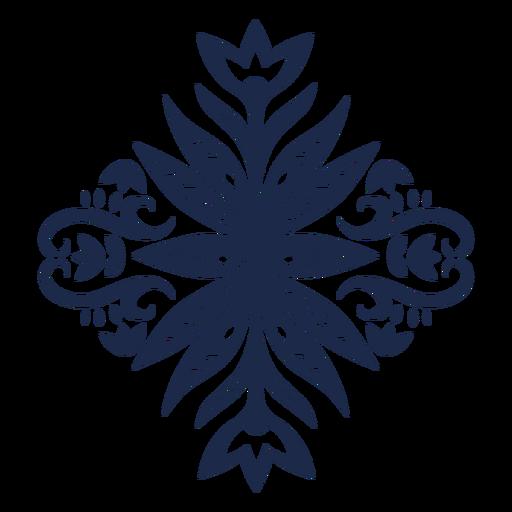 Silueta de patrón folk floral decorativo
