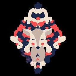 Deer folk art floral ornament