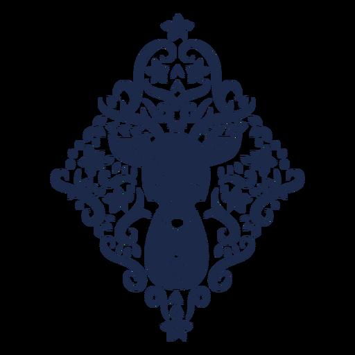 Silueta floral de ciervos folk art