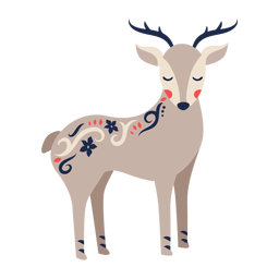 Deer folk art ornament