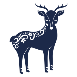 Deer folk art ornament silhouette