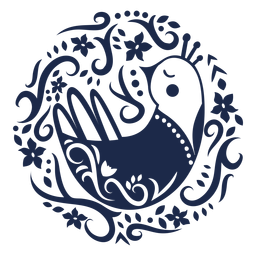 Dove folk art floral silhouette