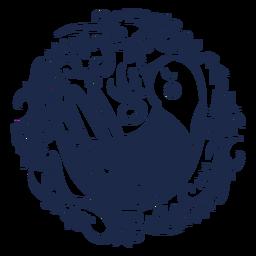 Silueta floral de arte popular de paloma