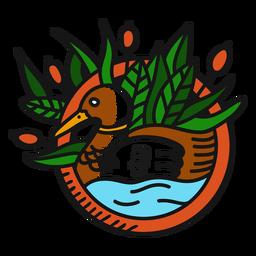Tatuagem vintage de emblema de pato