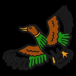 Tatuagem vintage voadora de pato