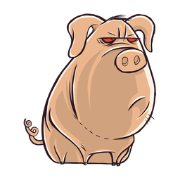 Dibujos animados de carácter de cerdo aburrido