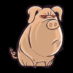 Dibujos animados de personaje de cerdo aburrido