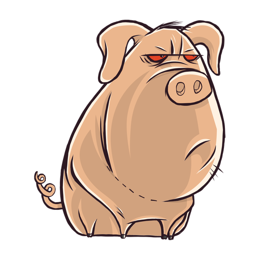 Dull pig character cartoon