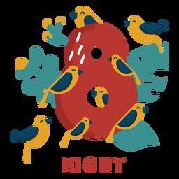 Número de ocho pájaros