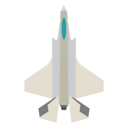 Fighter jet top view icon