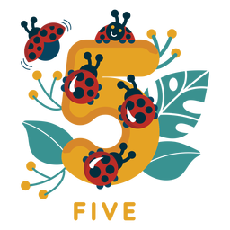Five ladybugs number
