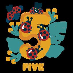 Número de cinco mariquitas