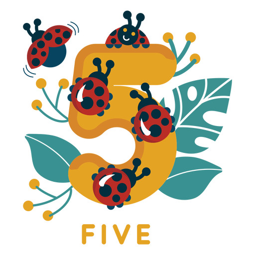 Five ladybugs number Transparent PNG