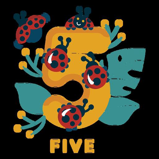 Número de cinco joaninhas