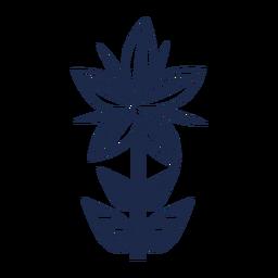 Silhueta de elemento floral folk art