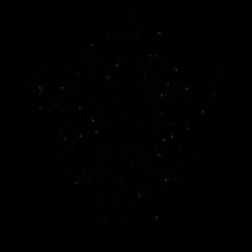 Scandinavian flowers folk art black