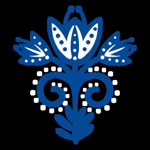 Flor escandinava arte popular azul