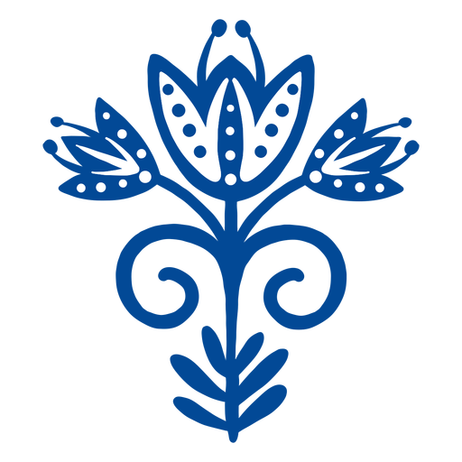 Scandinavian flower folk art blue Transparent PNG