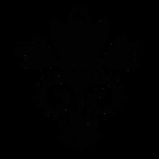 Floral scandinavian flower folk art black
