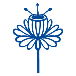 Flower scandinavian folk art blue