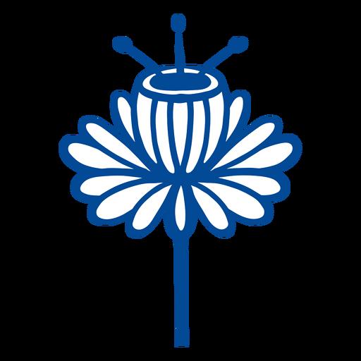 Flower scandinavian folk art blue Transparent PNG