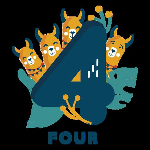 Número de cuatro perros