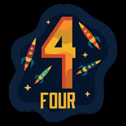 Número de cuatro naves espaciales