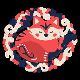 Fox folk art floral ornament