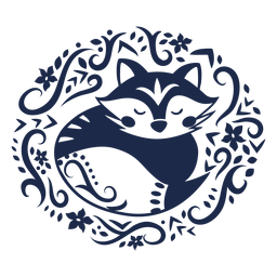 Silhueta floral de raposa arte folclórica