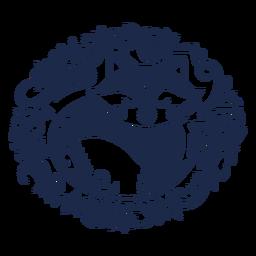 Silueta floral del arte popular de zorro
