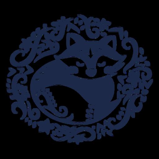 Fox folk art floral silhouette