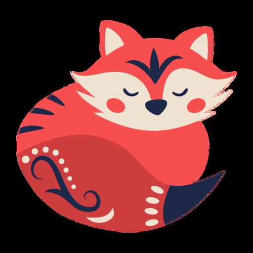 Fox folk art ornament Transparent PNG