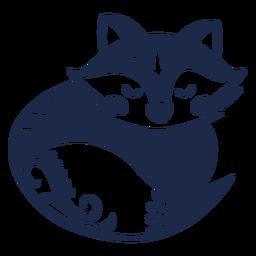 Silhueta de ornamento de arte popular raposa