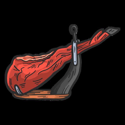 Iberian ham hand drawn