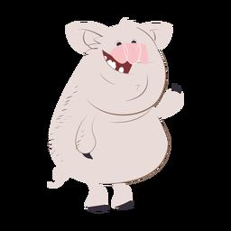 Dibujos animados de personaje de cerdo riendo