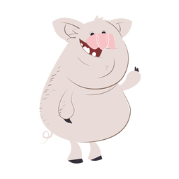 Laughing pig character cartoon