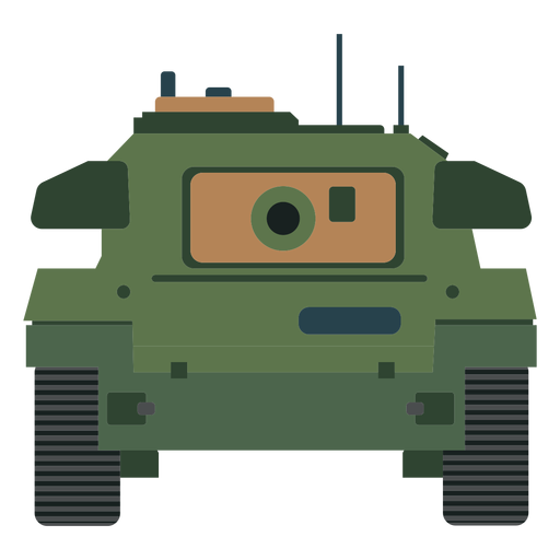 Military tank front view flat