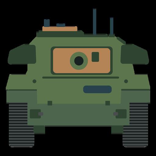Vista frontal del tanque militar plana