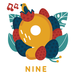 Nine bird eggs number