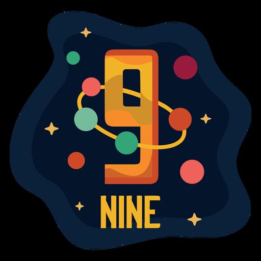 Número de nueve planetas