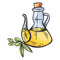 Olive oil jug hand drawn