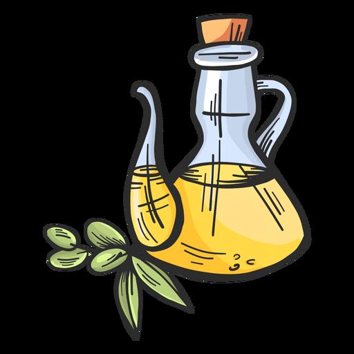 Olive oil jug hand drawn Transparent PNG