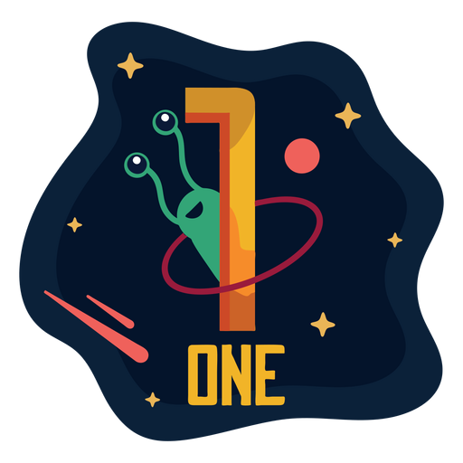 One space cartoon number Transparent PNG