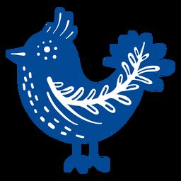Elemento de arte popular de pájaro ornamentado.
