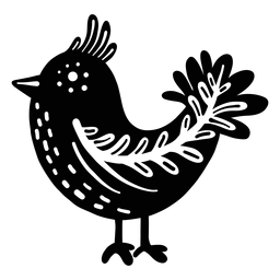 Silueta de arte popular pájaro ornamentado
