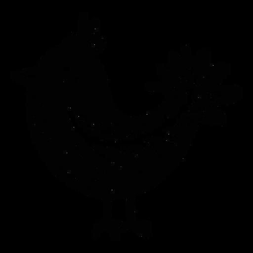 Ornamented bird folk art silhouette
