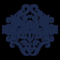 Ornamented floral folk pattern silhouette